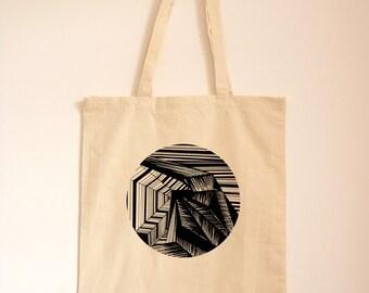Geometric Tote Bag/ Line Drawing/ Stripe Fabric Bag/ Modern Art/ Large Canvas Bag/ Optical Illusion Cotton Bag