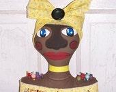 Folk Art Raggedy Pincushion Doll Bust Shelf Sitter Decor PCD#3 FosterChild Whimseys