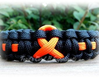 Orange Awareness Ribbon Bracelet, Paracord Survival Bracelet, Leukemia, Multiple Sclerosis, Kidney Cancer, Skin Cancer, Motorcycle Safety