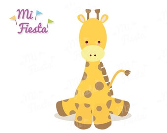 Cute baby giraffe kawaii style clipart for birthdays or baby showers Instant Digital Download