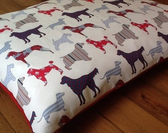 SMALL Deep Filled  Dog Bed with 100% Cotton Fabric Cover and Extra Deep pillow 50cm x 40cm