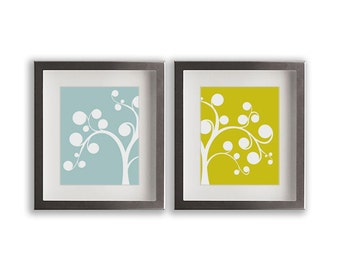 Set of Two Abstract Tree Art Prints - home decor, dining room, living room, art print, wedding gift idea, bedroom decor, custom, modern art