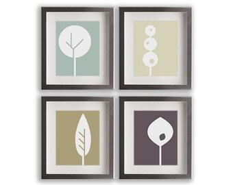 Geometric Tree Art Prints - set of four modern art prints, gift idea, gallery wall, wall decor, living room, dining room decor, bedroom art