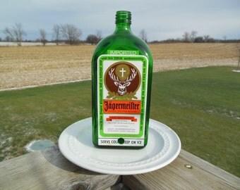 Jagermeister bottle bird feeder, upcycled bottle ,Feed the birds in style!!