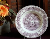 Purple transferware Rural Scenes rimmed soup bowl.  By Clarice Cliff of Royal Staffordshire.
