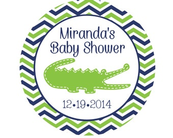 Personalized Baby Shower Stickers -Personalized Baby Shower Tags-Alligator Stickers