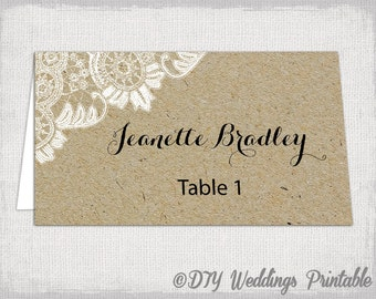 "Rustic place cards template ""Antique Lace"" kraft DIY printable name card -YOU EDIT Word template instant download"