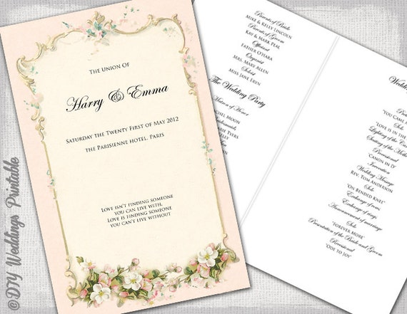 wedding program booklet template free