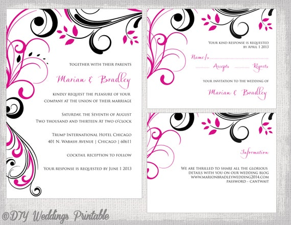 wedding invitation template set begonia pink & black, Invitation templates