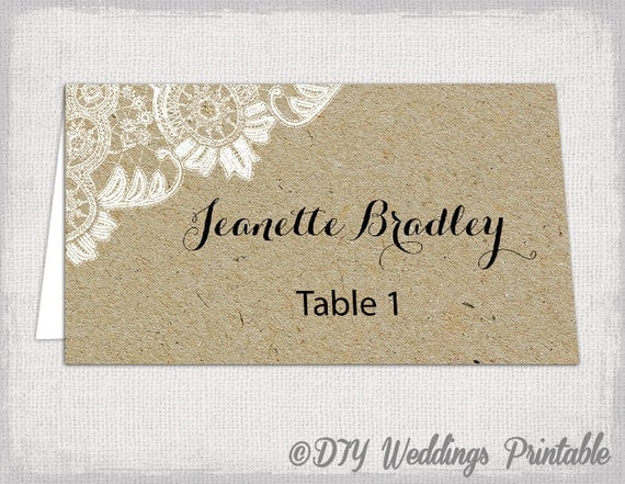 rustic place cards template antique lace kraft diy. Black Bedroom Furniture Sets. Home Design Ideas
