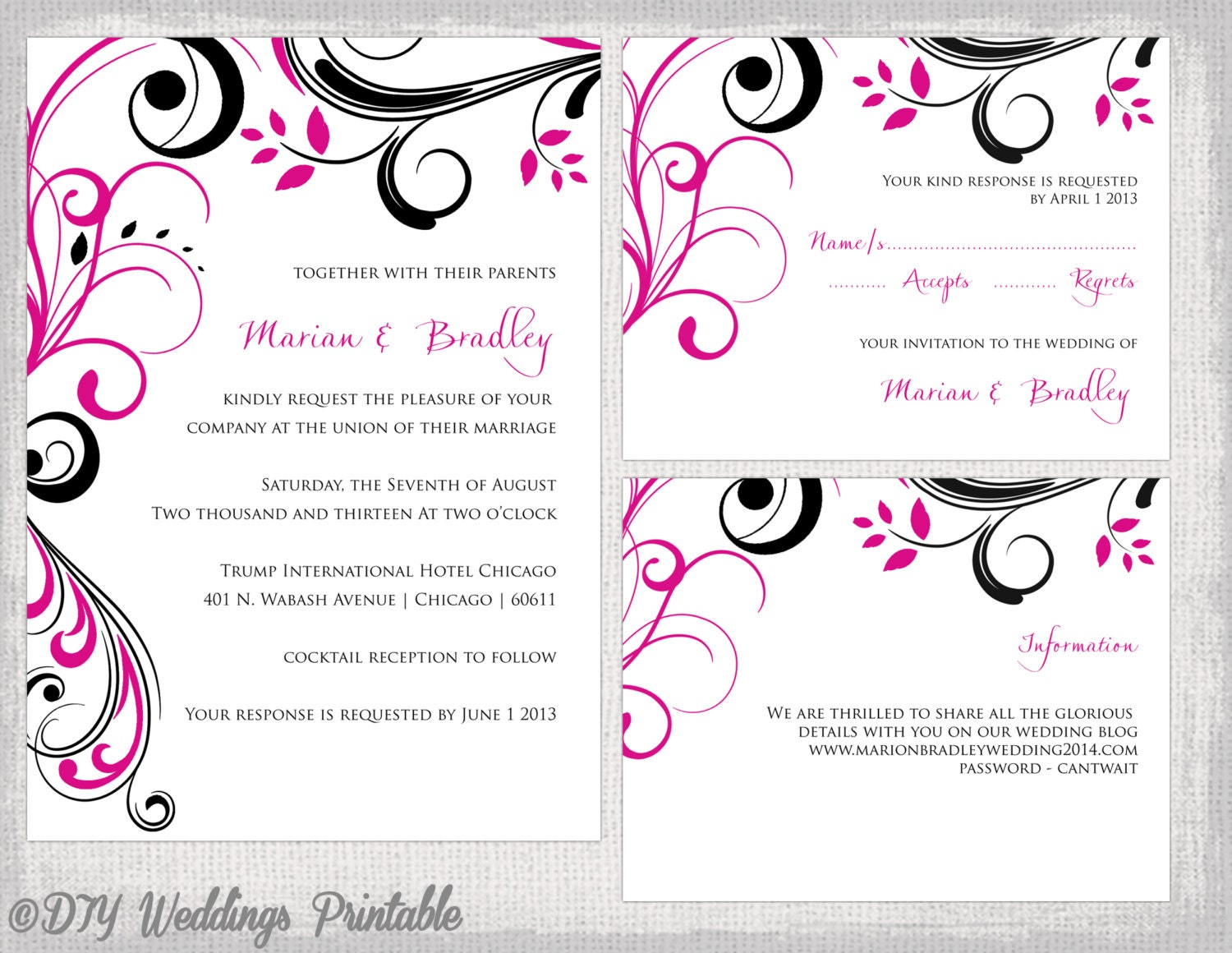 Red And Black Wedding Invitations Templates: Wedding Invitation Template Set Begonia Pink & Black