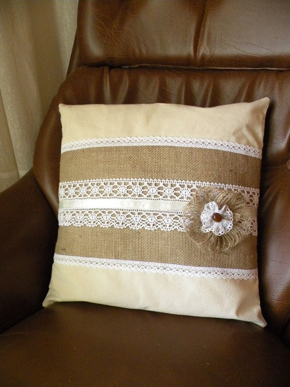 Lace Throw Pillow Covers : Burlap and Lace Pillow cover Burlap Throw Pillow Burlap