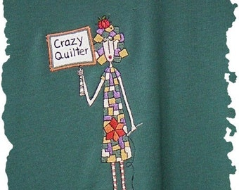 SALE S/S tee shirt with embroidered Lady & Crazy Quilter from Topstitch Designs by Linda