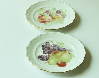 Vintage House of Goebel decorative plates, fruit designs, cottage chic décor