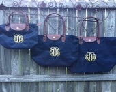"Small, Medium AND Large Sized Set of Monogrammed Tote Bags - Combo Sale - ""Longchamp"" Inspired Monogrammed Nylon Handbag"