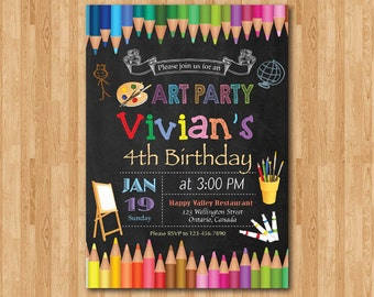 Art Birthday Party Invitation. Art Painting Party Colorful Invite. Little Artist. Girl or Boy Birthday. Chalkboard. Printable digital DIY.