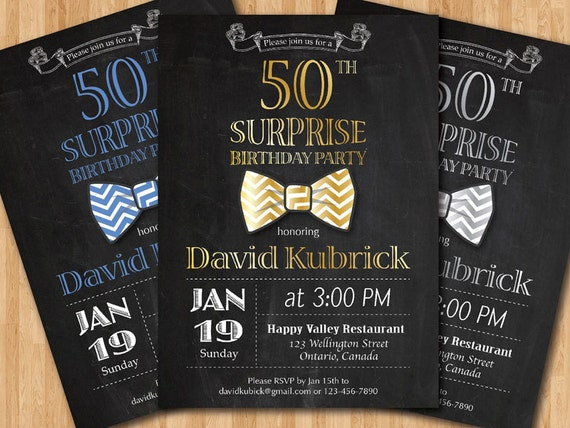50th Birthday Invitation for Men Bowtie little man invite – Invites for 50th Birthday Party