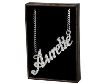 Name Necklace Aurelie - Gold Plated 18ct Personalised Necklace with Czech Rhinestones