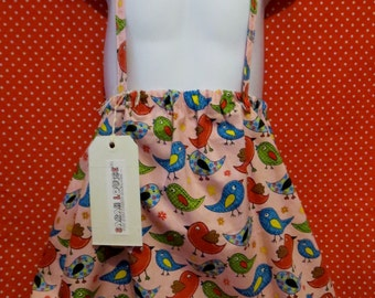 bright bird dungarees style skirt  5-6 years