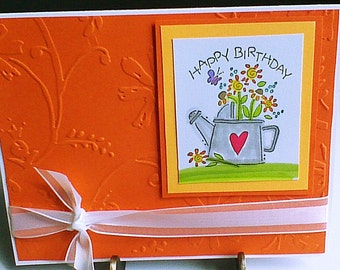 Happy Birthday Greeting Card Flower Birthday Card Orange Floral Birthday Card Handmade Birthday Card Greeting Card Embossed Birthday Card