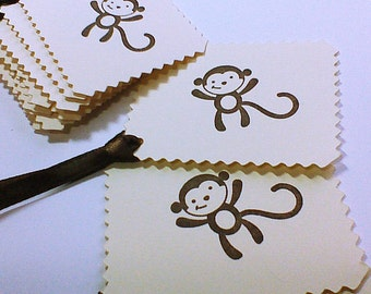 Monkey Tags Monkey Gift Bag Tags Greeting Tags Monkey Gift Tags Hand stamped Tags Handmade Tags Hanging Tags Brown Monkey Tags
