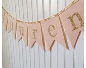 Blush Pink Wool Felt Glittery Gold Name Banner, Bunting, Pennant, Flags, Sparkle, Nursery, Baby Shower Decoration, Birthday, Bedroom, Gift