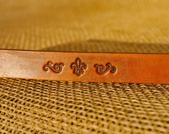 Hand-tooled Fleur de Lis Original Design Leather Bracelet
