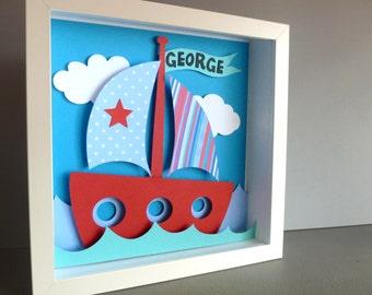 Personalised Baby Kids Children's picture - Boat Ship 3D Framed Handmade Paper Artwork