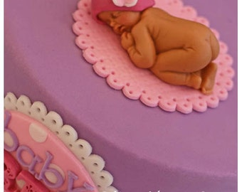 Sleep baby cake topper with hat