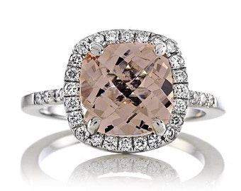 Peach Morganite Engagement Ring 2.60ct Peach Cushion Cut Ring .30ct Genuine Diamonds Classic Halo Wedding Ring Pristine Custom Rings