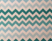 Teal/Light Blue Chevron Fabric by the Yard, 1 Yard, 100% Cotton, Zig Zag Fabric, Ombre, Quilting Fabric, Quilting, Apparel, Cotton Fabric