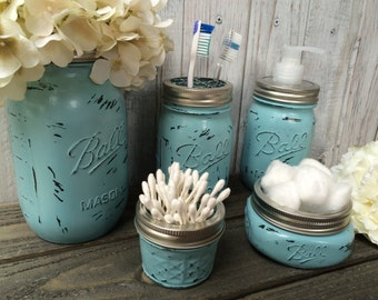 Mason Jar Bathroom Set,Ball Mason Jar,Toothbrush Holder,Housewarming  Gift,Wedding
