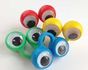 Large Googly Eye Monster Rings, 5 Large Eyeball Finger Puppet, Ring Puppet, Halloween Finger Monster, Finger Spy Cake Topper