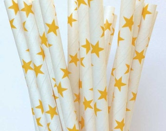 Paper Straws 25 Paper Straws Yellow Star Drinking Straws, Gold Stars, Princess Party Straws, Night Sky, Baby Gender Reveal, Twinkle Twinkle