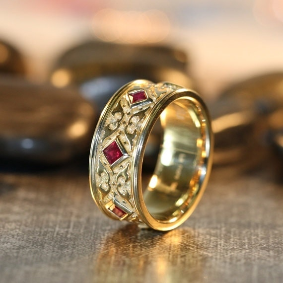 Celtic Wedding Ring Princess Cut Ruby Band 14k Yellow