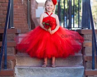 Red Tutu Flower Girl Dress, Red Flower Girl Dress, Red Dress, Red Weddings