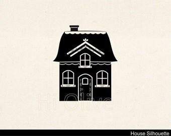 house silhouette clip art, black clip art, instant download