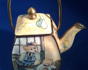 enamel hand painted teapot emoress arts ltd
