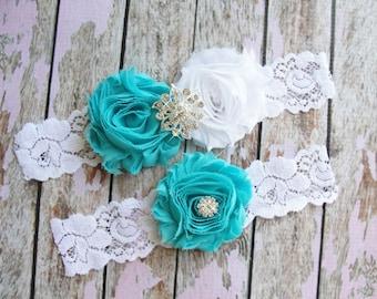 Garter Set, Wedding Garter, Toss Garter, Lace Garter, Aqua Bridal Garter, Something Blue, White Lace