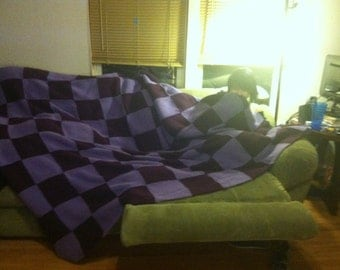 Hand Made Large Knit and Quilted  light and dark purple checkerboard pattern