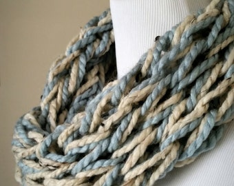 Soft Blue and Beige Knit Infinity Scarf