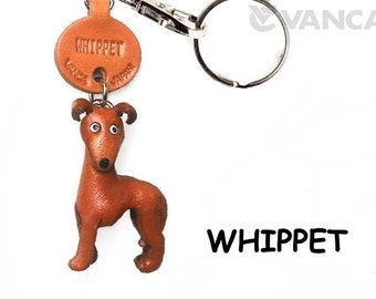 Whippet 3D Leather Dog Keychain Keyring Purse Charm Zipper pull Accessory *VANCA* Made in Japan #56788  Free Shipping