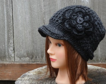 Crochet hat with Flower, Newsboy, Woman Hat