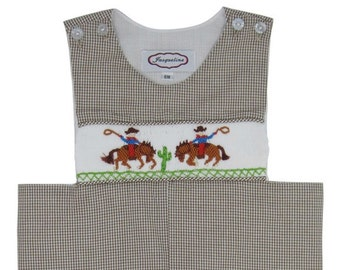 Hand Smocked Brown Gingham Cowboy Longall