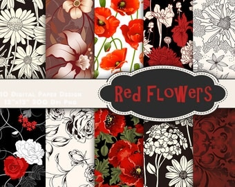 Instant Download Red Flower Digital Paper Flower Digital Scrapbook Paper Printable Black and Red Flower Digital Paper Scrapbooking 0140
