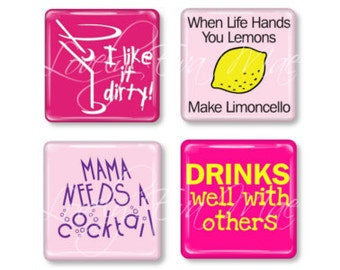 Set of 4, Humorous Cocktail Magnets, Glass Tile Magnets, Glass Magnets, Refrigerator Magnets, Fridge Magnets