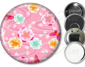 Japanese Floral Mirror, Floral Refrigerator Magnet, Bottle Opener Key Ring, Pin Back Button, Makeup Mirror, Floral Pink, Small Gifts