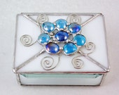 Stained glass box, Bevel box, Home decor, Decoration, blue box