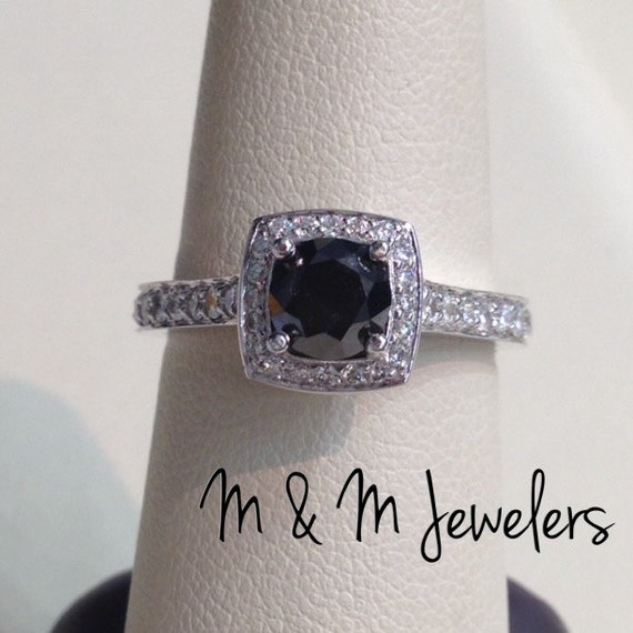14K White Gold Cushion Halo Setting w/ Round Diamonds tw.65ct (F/G, VS2) with .91ct Round Brilliant Cut Black Diamond