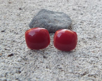 Red with a tint of Orange Glass Stud Earrings, Glass Earrings, Post Earrings, Bridal Jewelry, Square Studs, Glass Earrings, Glass Studs
